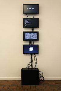 Installation, programme sur ordinateur avec quatre écrans, 2009 Samuel Bianchini et Sylvie Tissot