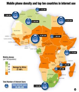 Carte des connectés en Afrique.